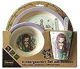 Idena 40122 - Set di stoviglie per bambini, in bambù, motivo: sirenetta, colore: Turchese