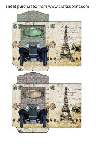 Feuille A4 pour confection de carte de vœux - 2 Classic sports car seed packets 2 par Sharon Poore