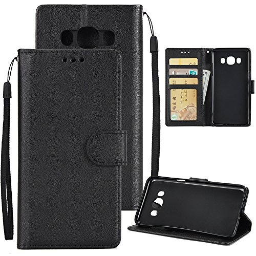 XHD-Phone protection XHD-Telefonschutz für Samsung Mit Lanyard, Card Slot, Magnetic Buckle Öffnen Sie die Phone Shell für Samsung Galaxy J710 Einfach & praktisch (Color : Black) (Classic Schutz Slip Plus)