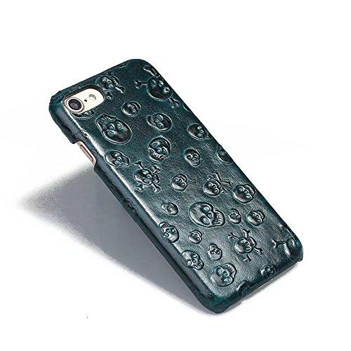 Luxus 3D Effekt Rindsleder echtes Leder Schutzhülle für iPhone 7/8 ( Color : Brown ) Darkgreen