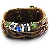 CATS Männlich Stein Geometrie Armband aus Geflochtenem Leder mit Blauem Kristalldiamant, Blau