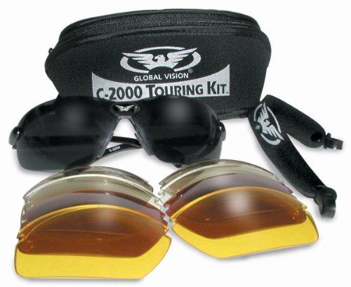 Motorrad / Biker Rundum Brillen / Sonnenbrillen tourt komplett mit 5 Sätze von Wechselobjektiven und Aufbewahrungstasche