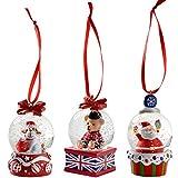 WeRChristmas Weihnachtsdekoration 45mm Hund Santa Bär Mini Snow Globe, Set 3, Mehrfarbig