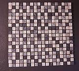 Natursteinmosaik schwarz weiß mix, getrommelt, 1,5x1,5x0,8cm 1Tafel, MOTR36
