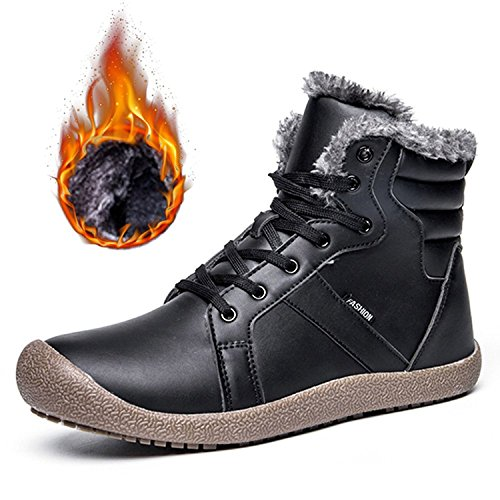 Schuhchan Men's Winter Boots With Fur Warm Ankle Short Snow Boots£¬Black UK...