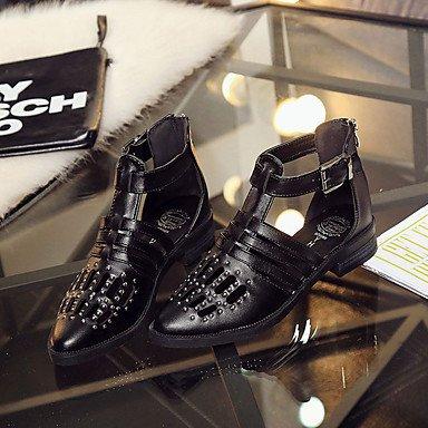 LvYuan Sandalen-Outddor-PU-Niedriger Absatz-Komfort-Schwarz Weiß Black