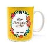 Mr. & Mrs. Panda Tasse Design Frame Happy Girls - 100% handmade in Norddeutschland - Porzellan, Becher, Frühstück, Tasse, Tee, Cup, Geschenk, Kaffeetasse, Blumen Liebe Flower, Keramik, Schenken, Teetasse