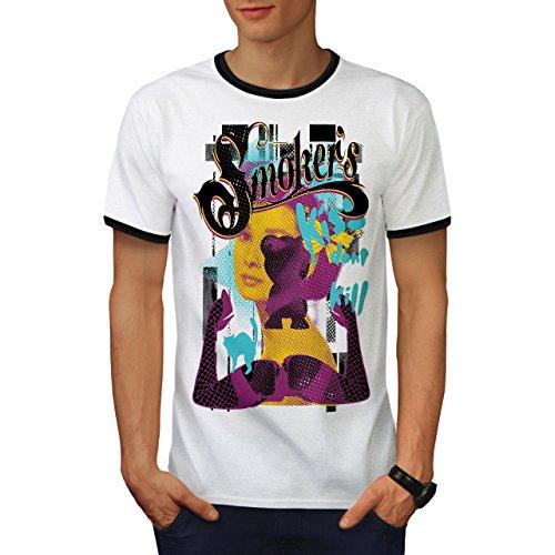 Raucher Mädchen Sexy Rasta Audrey Bein Herren L Ringer T-shirt | Wellcoda (Krebs-ringer)