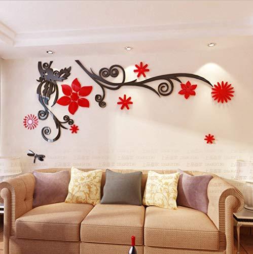 xsongue Romantic Vine 3D Acrylic Crystal Wall Stickers Living Room Tv Wall Applique DIY Home Art Decoration Waterproof -