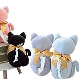 SASA Grande Fiocco Gatto Simpatici Set di Asciugamani di Carta Auto Appendibile Coperchio della Scatola del Tessuto, Black