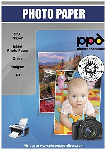 PPD Papier Photo Brillant Impression Jet d'Encre, 180g, A3 X 50 Feuilles, PPD-41-50