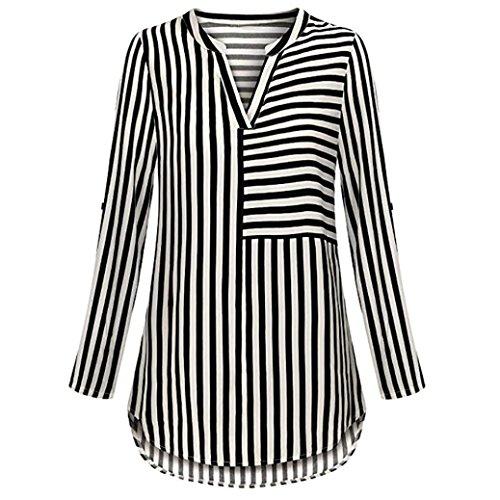 ZIYOU Damen Lange Ärmel Bluse Chiffon, Streetwear Gestreiften Oberteile Tops  Langarmshirts V-Ausschnitt Blusen T Shirt (Schwarz, EU-44   CN-2XL) a596bca5c5
