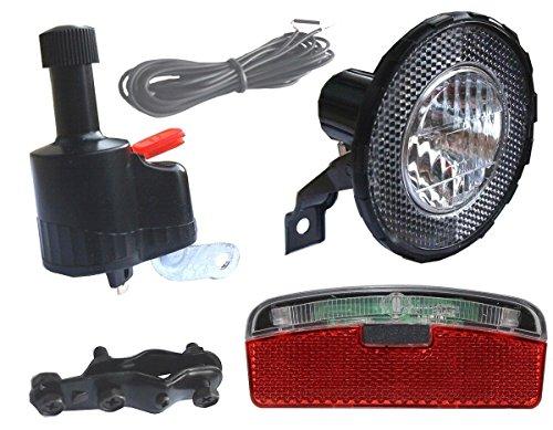 Black Dingo Cycling Products BDCP Seitenläufer Dynamo Lampenset, Halogen Scheinwerfer, Eco-Led Rücklicht
