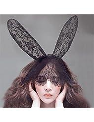 Vale® Orejas de conejo diadema de encaje Conejo chica de moda de las señoras Velo Negro máscara de ojo del partido de Halloween Sombreros Accesorios para el cabello