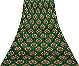 Svasti Blumendamast Vintage-Silk Sari Teal Grün
