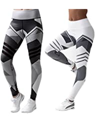 2 Pcs Leggins Pantalones Deportivos Elásticos Malla Leggings Deporte Mujer para Running Fitness Yoga, Blanco y Negro