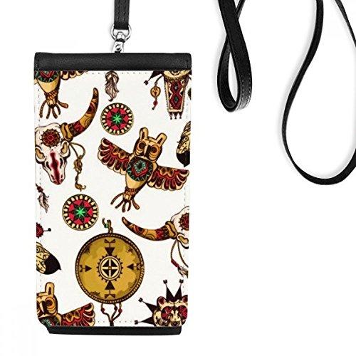 DIYthinker Native American Indian Inspired Tierschädel Owl Totem Sacrifice Kunstleder Smartphone hängende Handtasche Schwarze Phone Wallet Geschenk Owl Mobile