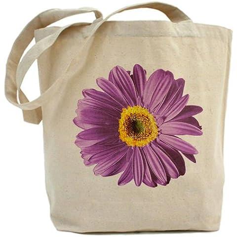 CafePress–Pop Art Viola Daisy–Borsa di tela naturale, panno borsa per