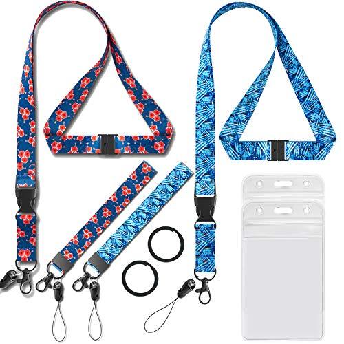 Umhängeband mit Ausweishalter und Umhängeband für Schlüssel, Frauen mit Schlüssel, Handschlaufe, Breite 0,79 cm, Blumenband, 2 Stück