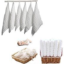 Itian 6 Piezas de Toallas de Algodón bebé, Toallas Hidrófilos, Toallitas Húmedas para Bebés, Plaza 30 * 30cm (Blanco)