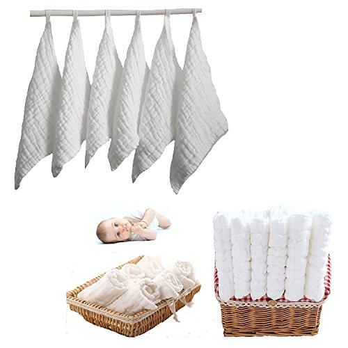 Itian 6 Stücke Baby Baumwolle Handtuch, Hydrophilic Handtücher, Babytücher, Quadratisch 30 * 30cm (Weiß)