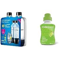Sodastream 2 BOUTEILLES 1L CLASSIQUE LAVE VAISSELLE, Plastique, Transparent & Concentré Saveur Limonade 500ml