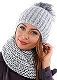Damen Strickmütze & Loop mit großer Kombiset Kunstfell Bommel Strickset Beanie mit Fellbommel + Schlauchschal, Einheitsgröße K3 (Grau)
