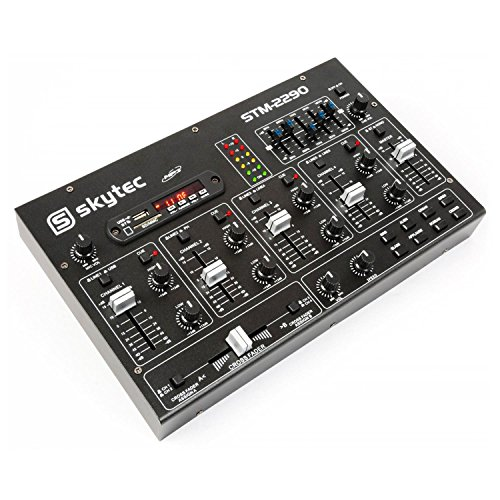 Skytec 172985 6-Kanal Mixer mit Effekten, SD/USB / MP3 / Bluetooth (Radio-software)