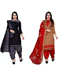 Desimiss Kart Women's Cotton Polyser Blend Unstitched Salwar Suit Dress Material (10980_11160_Red::Black_Free Size_Combo Pack Of 2)
