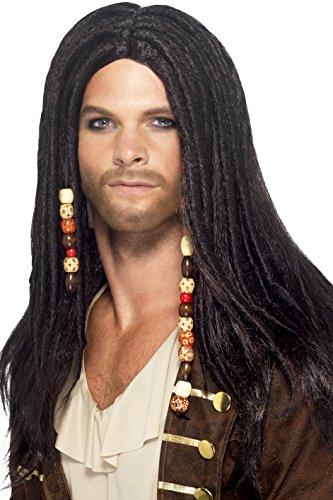 Smiffys, Herren Piraten Perücke mit Perlenschnüren, One Size, Schwarz, (Perücke Authentische Piraten)