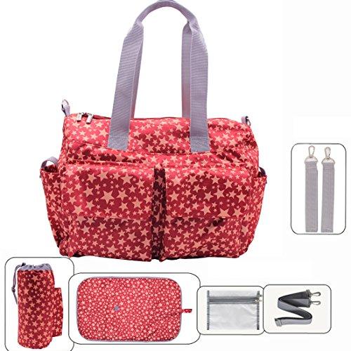 Damero Pflegetasche Tragetasche Wickeltasche Windeltasche mit Floral Designer (Rot Sterne)