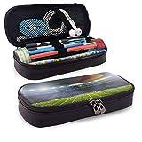 Étui à crayons en cuir synthétique sac à crayons Hypaethral Rugby Field crayon à glissière pour sac de maquillage cosmétique pour bureau de travail scolaire