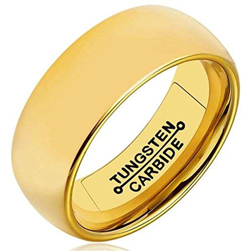 AMDXD Herren Ring Wolfram Stahl (mit Gratis Gravur) Runde 8MM Gold Ehering 70 (22.3)