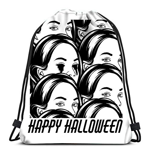 ng Backpack Sport Bag Happy Halloween Girl Bleeding Eyes Crowd Surreal Tattoo AR Lightweight Shoulder Bags Travel College Rucksack for Women Men ()