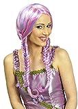 Perücke Arabella mit geflochtenen Zöpfen - Lila Rosa - Damen Zopfperücke zum Märchen Feen Elfen Einhorn Kostüm