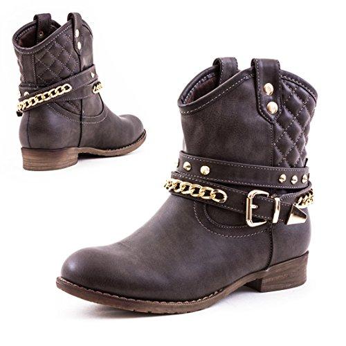 Déguisement de cow-boy pour femme boots chaussures bottes d'hiver cloutées avec doublure chaude Gris
