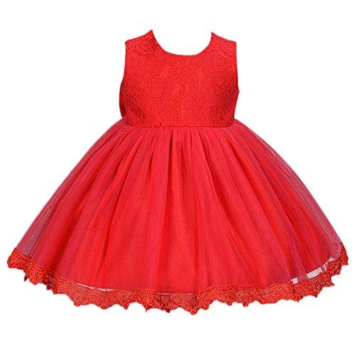 Happy Cherry Babymädchen Kleider Baby Süßes Kleid Kleine Prinzessin Kleid Ärmelloses Falten Kleid mit Große Schleife Gr.6 für die Körpergröße 62-68cm(3-6 Monate) - Rot (Kleine Für Maxi-kleid Mädchen)