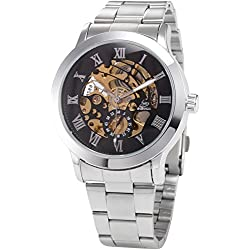 AMPM24 Mechanical Analog Black Dial Stainless Skeleton Mens Sport Wrist Watch Cool + AMPM24 Gift Box PMW025