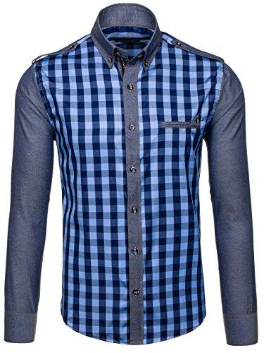 BOLF Herren Freizeithemd Herrenhemd Langarm Hemd Slim Fit Klassisch Blau