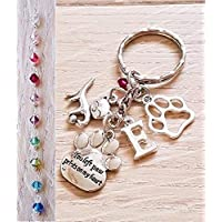 Handmade Memorable Cat Kitty Loss Charm Personalised Keyring Keychain with Genuine Crystal