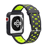 EL-move Apple iWatch Armband 42mm, Serie 1 2 3 Sport Silikon Armbanduhr Silikonarmband Ersatzarmband Armband für Apple iWatch/Apple Uhr Nike+ Serie 1 Serie 2 Serie 3 (38MMAPBG)