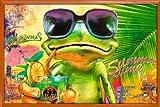 Poster mit Rahmen 61 x 91,5 cm, Orange - Cooler Frosch mit Sonnenbrille gerahmt - Antireflex Acrylglas
