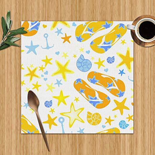 best gift Placemats Set of 6,Summer Wrapping Paper Fabric Sports Recreation Art Heat-Resistant Placemats Washable Table Mats for Kitchen Dining Table 12X12 Inch