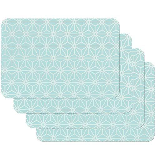Venilia Tischset Platzset für EsszimmerOSAKABLAU VINTAGEKALEIDOSKOP-MUSTER, 4er Set abwischbar Polypropylen, lebensmittelecht 4 Stk. 45 x 30 cm, 4 Stück, 59060