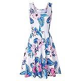 XuxMim Damen Sommerkleid ohne ärmel Knielang Strandkleid Elegant Partykleid cocktailkleid Spitze Druck A-Linie Kleider(Weiß-2,Large)