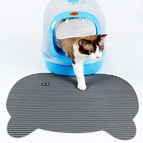 Yunt Katzentoillete Unterlage rustfest wasserdicht Katzenklo Matte leicht Cat Litter Mat zu reinigen Graun/Braun (Gestreifte Boden-matte)