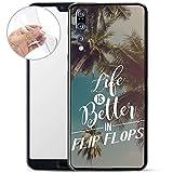 Finoo Hülle für Huawei P20 Pro - Handyhülle mit Motiv und Optimalen Schutz TPU Silikon Tasche Case Cover Schutzhülle - Life is better in FlipFlops