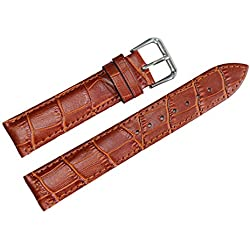 21mm Light Brown Leather Watch Band Grosgrain Padded Standard Length for Men's Wrist Watches