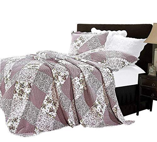 Supreme Bettwäsche Baumwolle 3-Teiliges Tagesdecke Sets- Patchwork-Decke, Gesteppt, Floral Stickerei Muster, Baumwollmischung, Orchid (C 361-10), Super King (260 x 270 cm) - Florale Stickerei Kissen