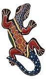 Deko Gecko dot-painting aus Holz 30 cm, Wandschmuck